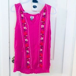 Old Navy pink embroidered sleeveless blouse Size S